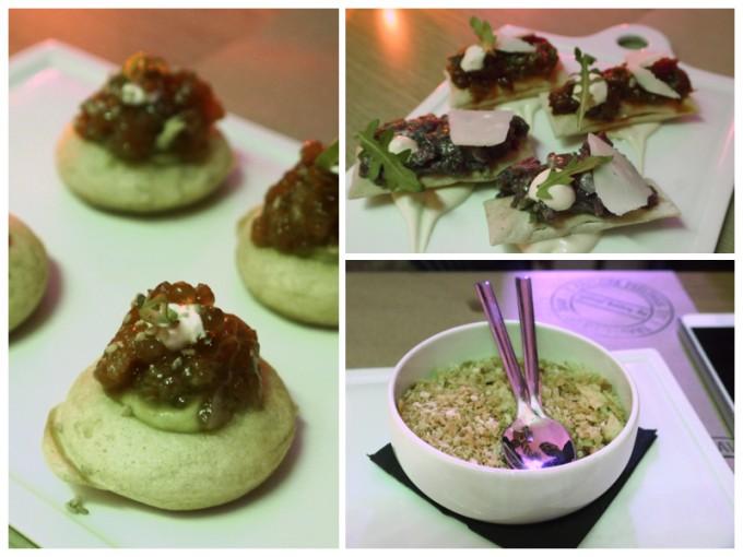 Blinis de ventresca, tartars de buey y tomate y croqueta