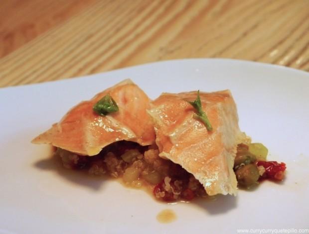 Salmón cocido a baja temperatura con quinoa y alcaparras