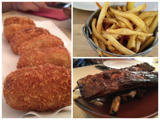Buenas croquetas caseras, buenas patatas fritas y deliciosas costillitas ibéricas lacadas con miel, soja y jengibre.