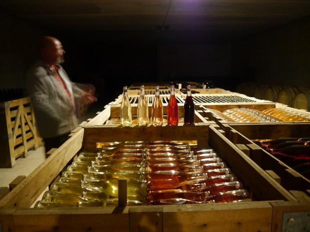 Interior de la bodega donde aguardan los vinos de esta pareja.