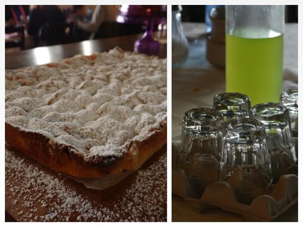 Tarta de manzana y naranja con chupitos de orujo ecológico.