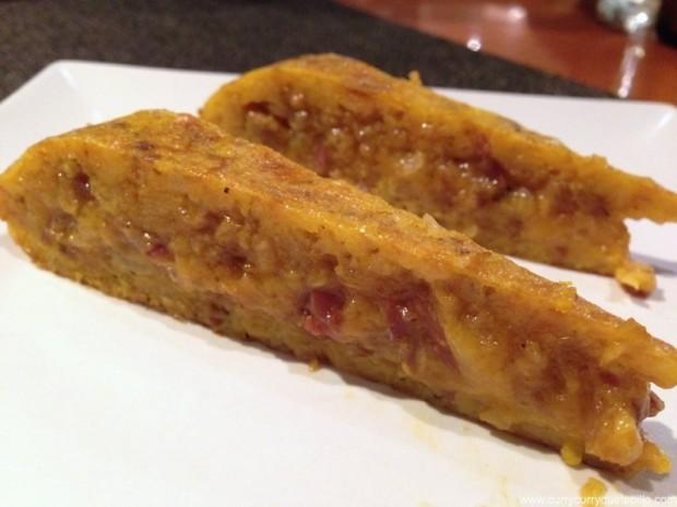 Tortilla de croissant con jamón ibérico.
