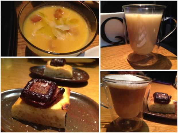 Crema de calabaza, vaso de caldo, onza de chocolate y café cortado.
