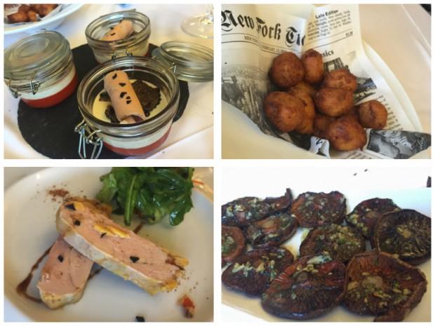 Cremoso de foie con gelatina de pimientos, buñuelos de bacalao, foie micuit y rovellons.