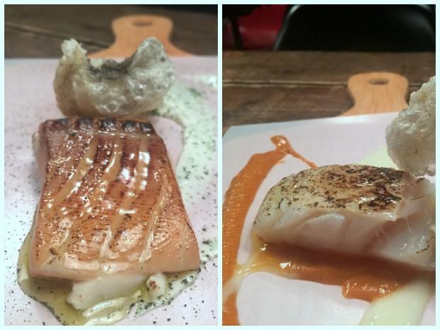 Salmón marinado con mayonesa dashi y algas. Bacalao ahumado con pil-pil y romesco. (Le Bouchon, Barcelona)