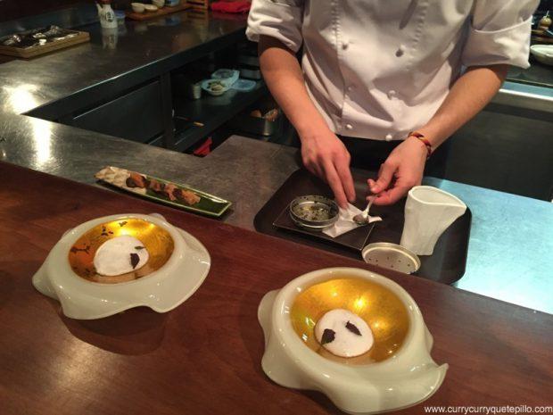 Yamaimo con caviar shiso y dashi
