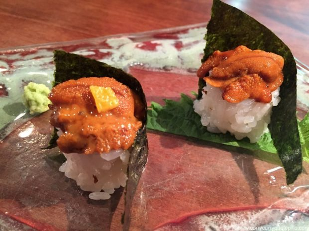 Maki de erizo de mar con y sin shiso. Dos Palillos.